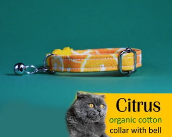 Cat collar Citrus (breakaway) / organic cotton collar, kitten collar, cat collar with bell, yellow collar