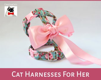 Fancy Princess Cat harness - Floral cat harness for girl cat - pink cat harness with bow - girl cat harness