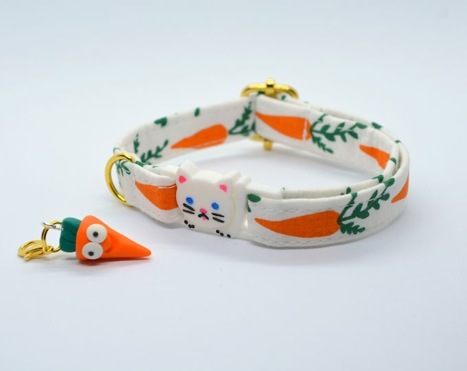 Featured listing image: Cat collar breakaway // Carrots // Cat collar kitten collar with bell //cat collar personalized//cat collar safety//organic cotton