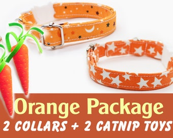 Christmas 'Orange' package: two cat/kitten breakaway + two catnip carrot toys, collars come with silver bells each / Crafts4Cats