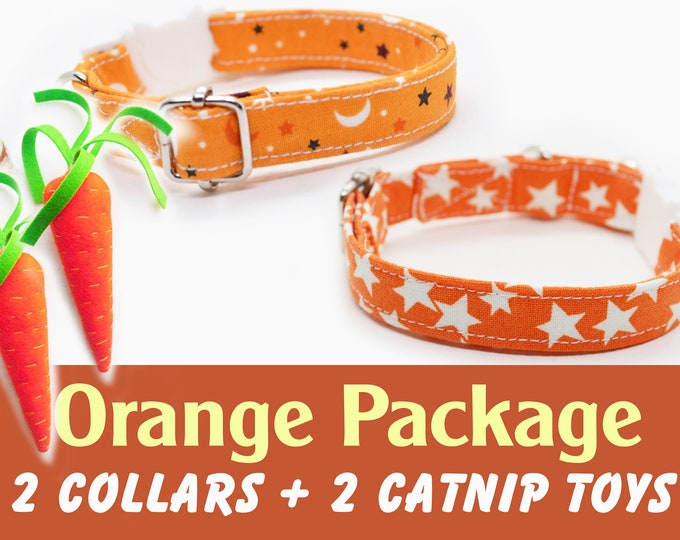 Featured listing image: Christmas 'Orange' package: two cat/kitten breakaway + two catnip carrot toys, collars come with silver bells each / Crafts4Cats