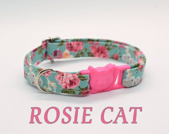 Kitten collar, cat collar, roses cat collar, breakaway cat collar,mint cat collar, rose cat collar, spring cat collar, girl cat collar
