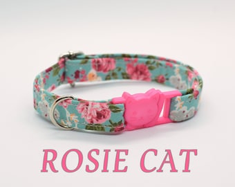 Cat collar 'Rosie Cat' / floral cat collar, breakaway cat collar,mint cat collar, rose cat collar, girl cat collar, Summer cat collar