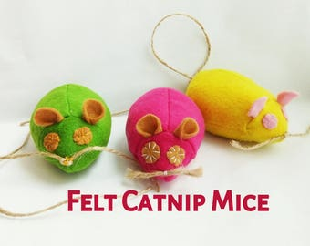 Felt Cat Toys - Felt Catnip Mouse Toy for Cats - Small Catnip Toys for Cats and Kittens - Pink Mouse -  Halloween  Thanksgiving gifts