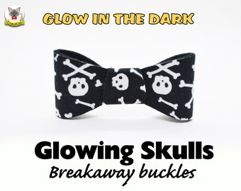 Cat bow tie Glowing Skulls, glow in the dark bow tie for cat, kitten collar, black collar, Crafts4Cats