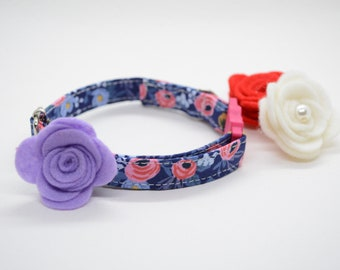 Cat Collar + Flower set 'Lucy's Garden' (breakaway) / cat kitten collar, breakaway cat collar, rose cat collar, girl cat collar