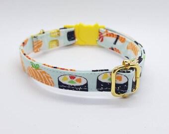 Breakaway cat collar//Sushi Sashimi//cat collar,kitten collar,cat collar with fish charm,fish pet tag,mint cat collar,Crafts4Cats