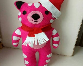Felt toys  Pink Teddy Tiger Toy -  Felt Ornaments - Cuddly felt toys - Pink Soft Toy - Yellow Soft Toy