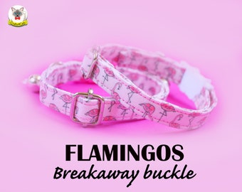 Collar 'Flamingos' (breakaway) /Pink cat collar, cat kitten collar, dog collar, novelty collar, girl cat collar, Crafts4Cats