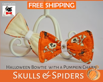 Halloween cat bow tie / cat collar bow tie /Orange white cat collar bow tie / Skulls bow tie / costume for pet /Crafts4Cats