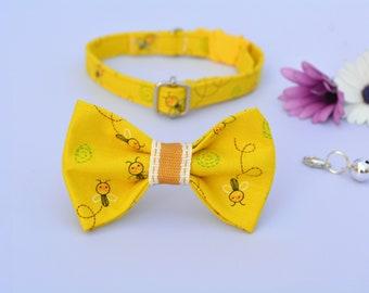 Collar+bow 'Little Bee' (breakaway) / yellow cat collar, kitten collar, cat collar with bell, spring handmade / CRAFTS4CATS