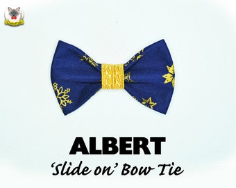 Cat bow tie 'ALBERT' /navy blue gold bow tie for collars, dog bow tie, cat bow tie, removable pet  bow tie,Cat collar, Crafts4Cats