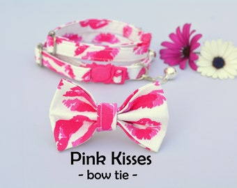 Collar with bow 'Pink Kisses' (breakaway) / cute cat collar, kitten collar, cat collar with bell / CRAFTS4CATS