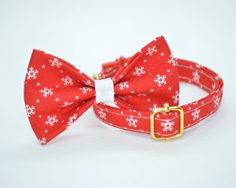Cat collar + Bow Tie Set 'Fluffy Flakes' (breakaway or non breakaway)/ cat collar with bell, breakaway cat collar,snowflakes collar