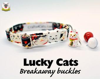 Collar 'Lucky Cats' (breakaway) / cat collar, kitten collar, dog collar breakaway, novelty collar Crafts4Cats