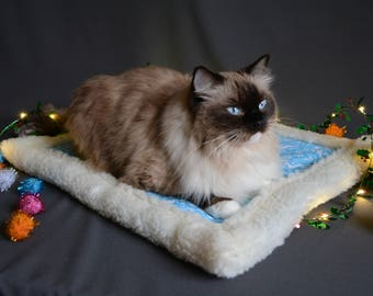 SALE Bed for cat or dog - cotton & fleece, well padded placemat / dog bed / cat bed / kitten bed