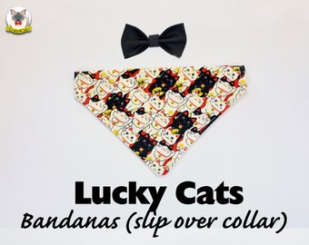 Bandana 'Lucky Cats' (slip over collar), cat / dog bandana / easy fit cat bandana, black & white, cute bandana // CRAFTS4CATS