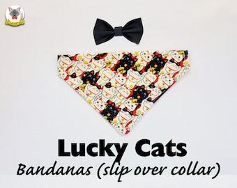 Bandana 'Lucky Cats' (slip over collar), cat / dog bandana / easy fit cat bandana, black & white, cute bandana // CRAFTS4CATS