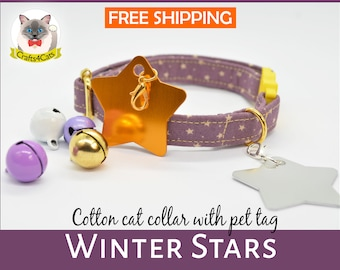 Cat collar // Winter Stars //Purple cat collar, star cat collar,kitten collar,galaxy cat collar,moon cat collar,gold,silver,Crafts4Cats