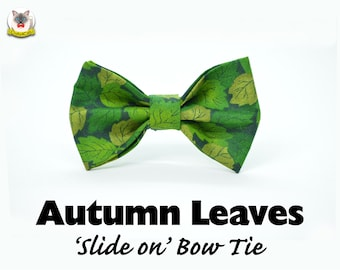 Cat bow tie 'Autumn Leaves'/ green cat collar bow tie,cat collar with bow,dog bow tie,pet bow tie,bow tie for cats