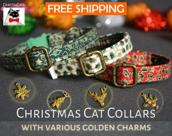 Cat collar breakaway - cat kitten collar 'Holly Night' with golden charm breakaway cat collar - luxury cat kitten collar  kitten gift
