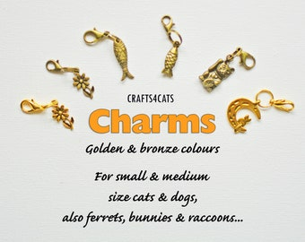 Charms for cat collars (golden/bronze colour)/ flower, fish, lucky cat, cat on moon charms for cat, kitten, dog / CRAFTS4CATS