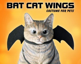 Bat Cat wings for pets /Halloween costumes for cats, costumes  for dog, black bat wings, handmade costume by Crafts4Cats