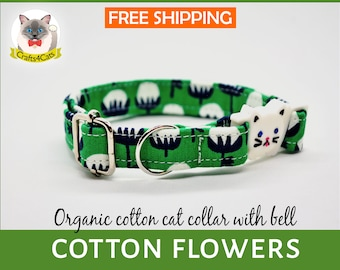 Organic cat collar /Green Cat collar/ breakaway/safety organic cat collar bell,safety cat collar,cute,kitten collar,Crafts4Cats