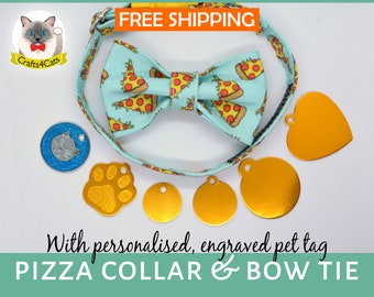 Pizza cat collar with bow tie ad cat id tag//breakaway cat collar//kitten collar//cute cat collar//mint,yellow//free shipping//Crafts4Cats//