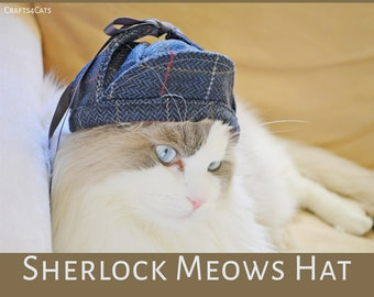 Sherlock cat for cat/ deerstalker hat, hat for dog , hat  for pet