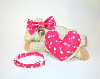 Valentine's cute cat collar Cat Bow Tie With Collar & Bell - Catnip Toy for Cat. Pink Cat Collar - Beautiful Cat Gift Set.