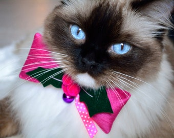 cat bow tie 'Holly berry' - cat bow tie with collar and bell -  luxury cat collar - Holly berry cat collar bow tie