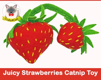 Strawberries catnip cat toy // Free shipping // Unique catnip cat toy,cute cat toys,strawberry catnip toy,felt catnip toy,Crafts4cats