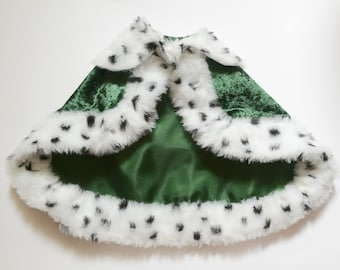 Royal Cat Costume Green Cape - Royal Velvet Cloak Costume for Cats with Ermine faux fur - Royal Cloak Dogs - King cat costume - pet  costume