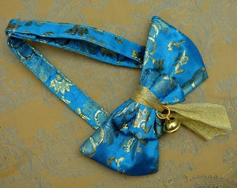 Oriental Gold-Blue Cat Bow Tie Collar Bell - Gold Bow Tie for Cats with Golden Bell -  Blue Gold Festive Bowtie - Hipster bowtie cat