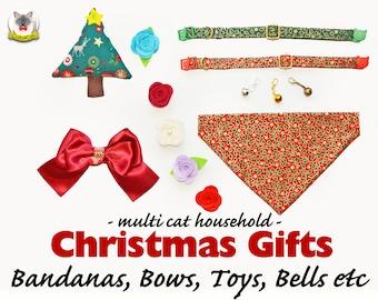 Christmas gift set: collar with bell, bow tie, rose flower, bandana, catnip toy, breakaway collar, cat colalr, kitten collar, Crafts4Cats
