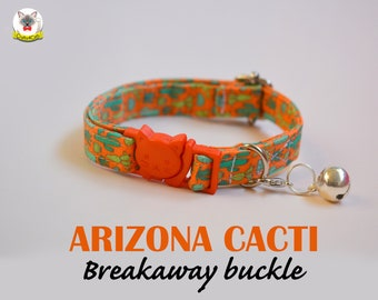 Collar 'Arizona Cacti' (breakaway) / Orange cat collar, cat kitten collar, dog collar, novelty collar, cactus cat collar, Crafts4Cats