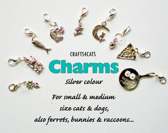 Charms for cat collars (silver colour)/ flower, fish, lucky cat, dragon, witch, moon, pizza etc charms for cat, kitten, dog / CRAFTS4CATS