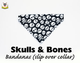 Bandana 'Skulls & Bones' (slip over collar), cat bandana, dog bandana, Halloween bandana,black, automn fall // CRAFTS4CATS