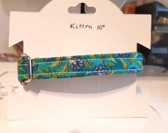 Cat collar 'Wild Carnation'/ floral cat collar, kitten collar,dog collar breakaway, green blue cat collar