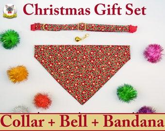 Gift Set: Collar + Bell + Bandana / Christmas gifts for pets/ breakaway collar or non breakaway collar, dog bandana, cat bandana, dog collar