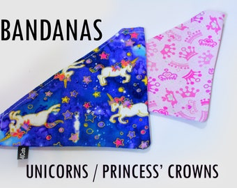 Bandanas / Unicorns and Princes pink crowns with glitters / neck kerchif