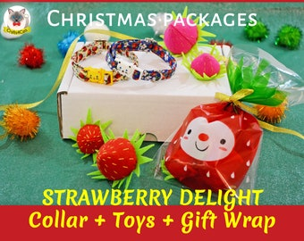 Christmas Gifts: Cat collar + catnip toy + gift wrap / breakaway cat collar /  strawberry toy / unique gifts for cats / free shipping