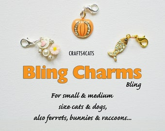 Charms (bling) bird, pumpkin, fish charms for cat collars CRAFTS4CATS