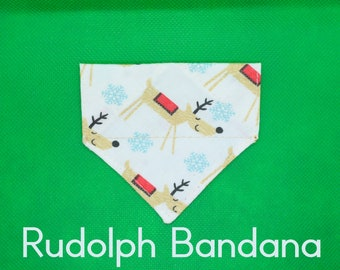 Cat bandana 'Rudolph' for small cats / kittens slip over cat collar bandana, deer kitten bandana, winter cat bandana, tiny dog bandana