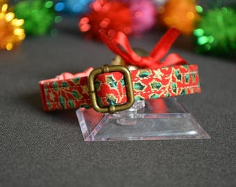 Christmas cat collar / kitten collar / cat collar breakaway / non breakaway collar / collar for dog / red gold Christmas / gift for pet