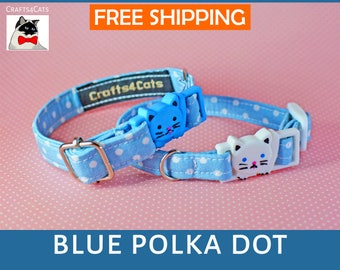 Blue polka dot cat collar breakaway, kitten collar, cat collar with bell, cute cat collars, boy cat collar, girl cat collar, Crafts4Cats