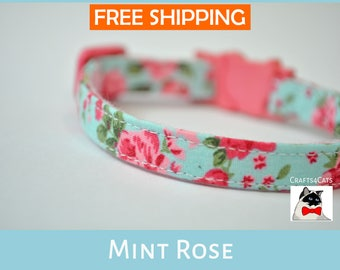 Cat collar breakaway 'Mint Rose', kitten collar, cat collar, cute cat collar, spring cat collar, floral cat collar, Crafts4Cats