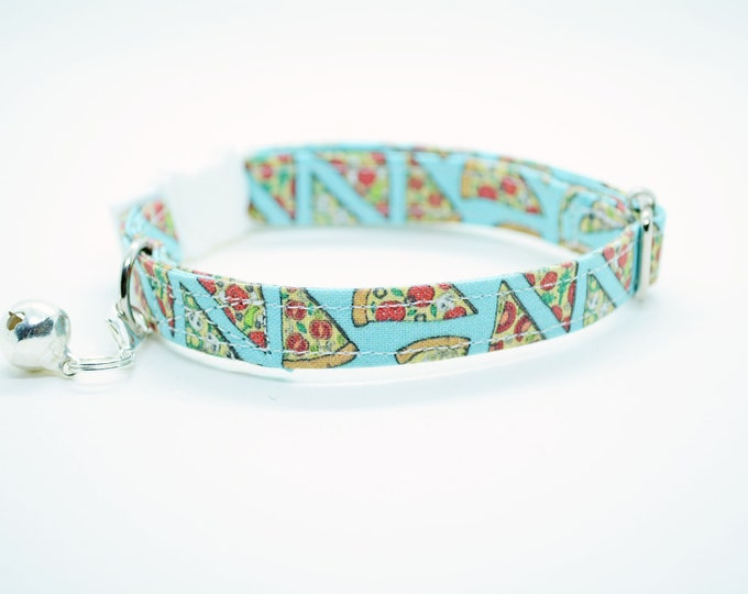 Featured listing image: Cat collar // Pizza cat collar // kitten collar, cat collar, breakaway, non breakaway, blue cat collar, cute cat collar, crafts4cats