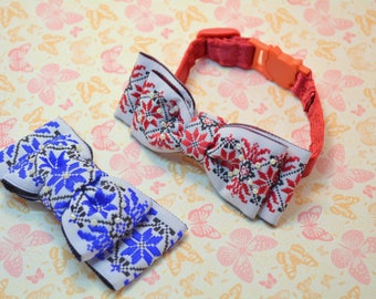 Cat bowtie Ukrainian style bowtie with collar, cat collar breakaway, cat bow tie red, blue, breakaway cat collar bowtie, wedding bowtie,